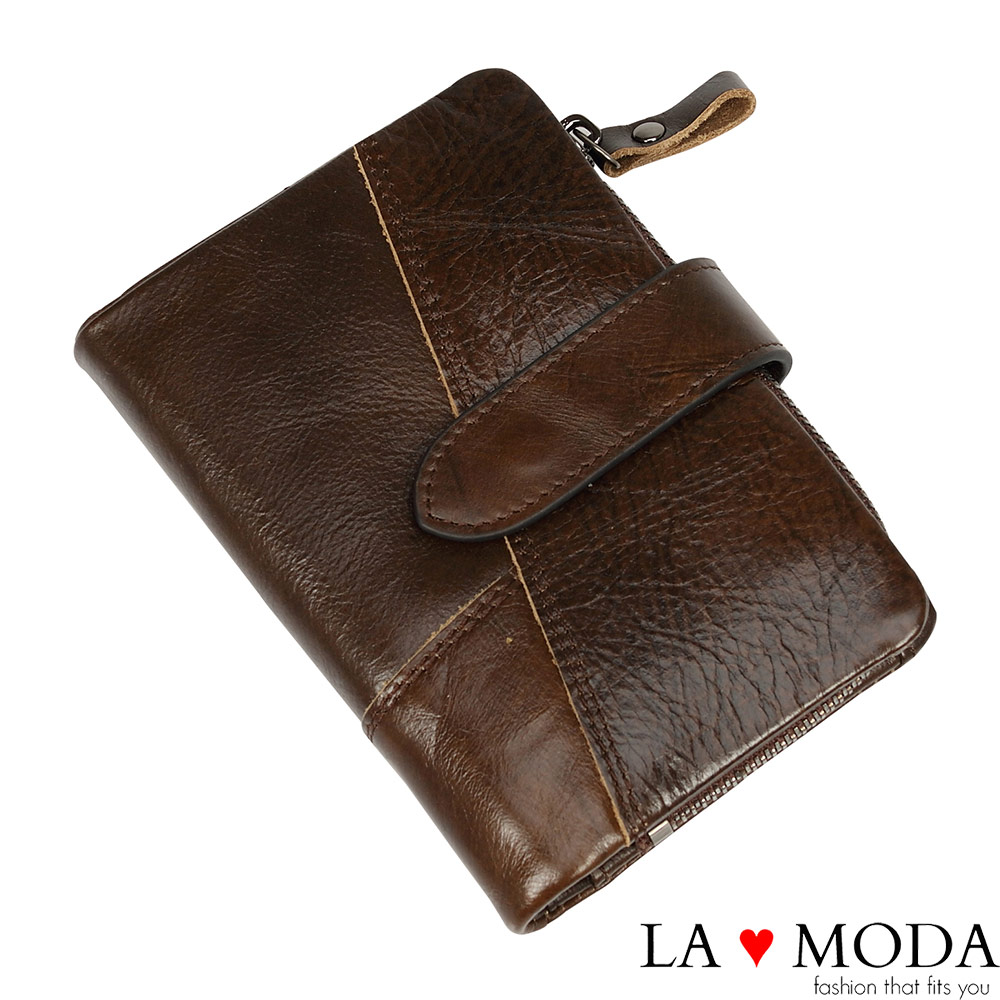 La Moda旅遊出國超安心防盜刷防RFID偵測真皮牛皮大容量短夾咖