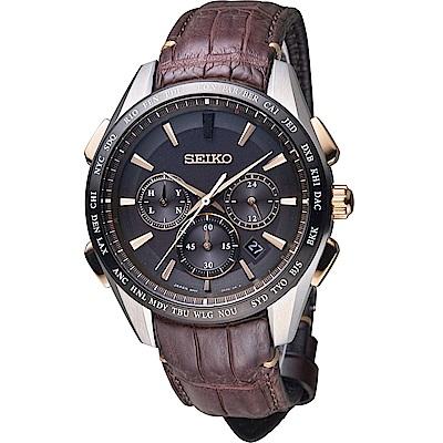 SEIKO Brightz 太陽能電波腕錶(SAGA219J)咖啡/43mm