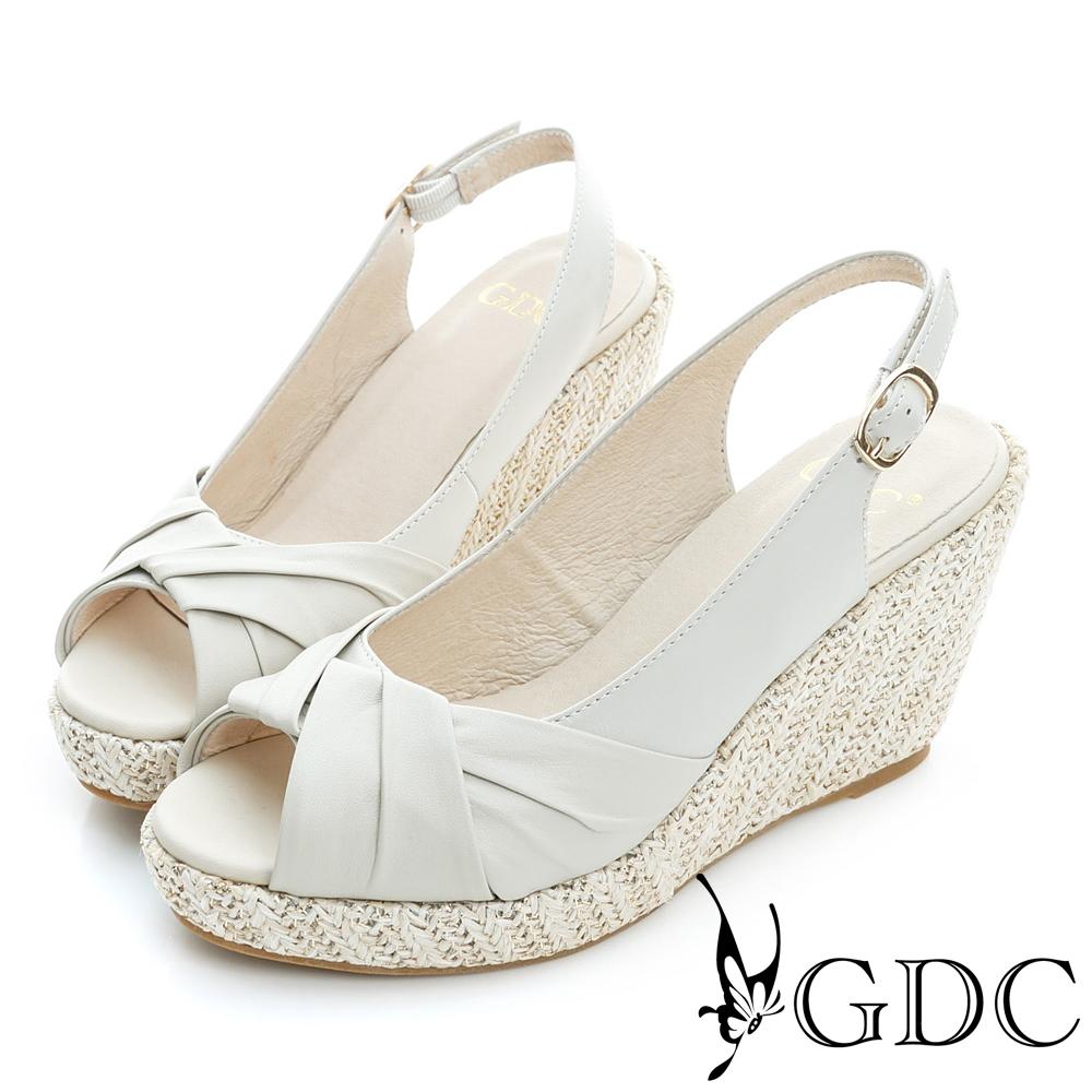 GDC-綿羊皮草編真皮楔型厚底魚口高跟鞋-米杏色