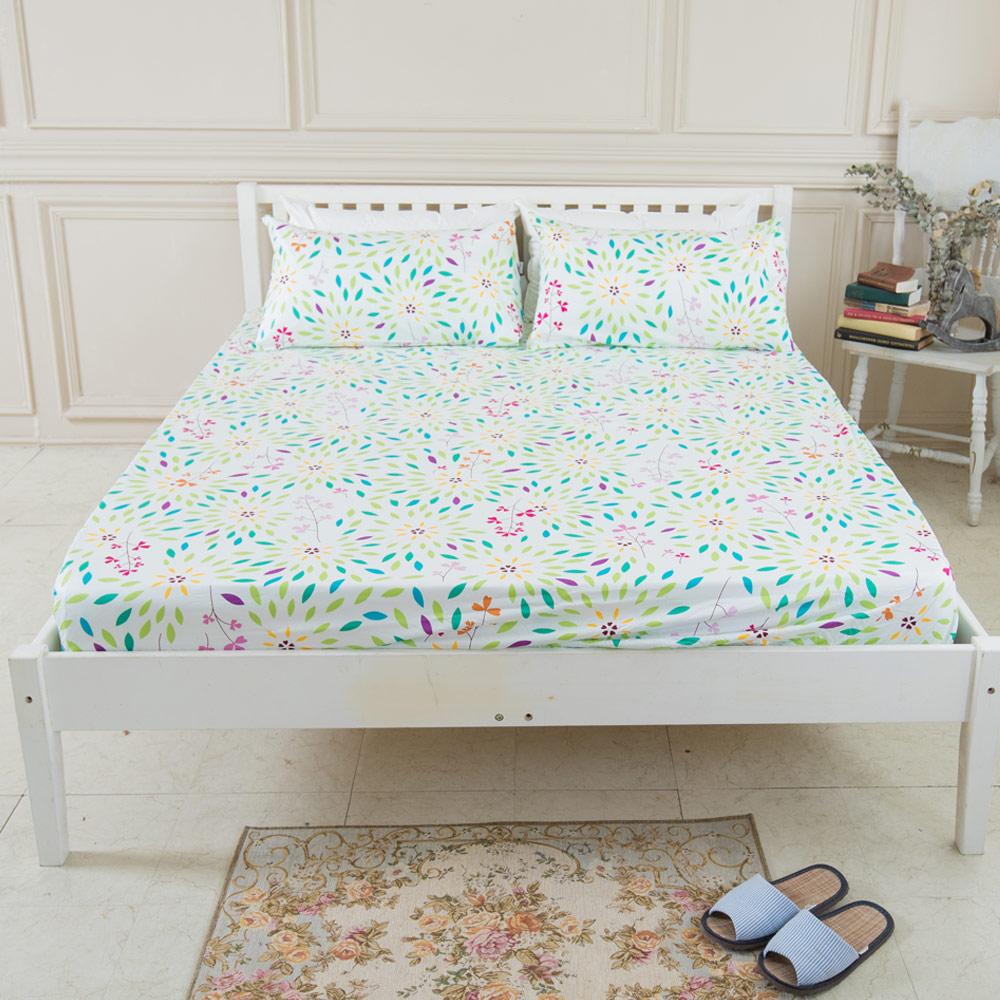 米夢家居-台灣製造-100%精梳純棉雙人加大6尺床包三件組-萬花筒