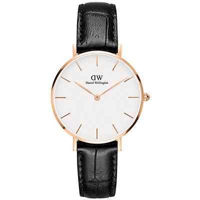 DW Daniel Wellington 經典雷丁黑色壓紋皮帶腕錶-金框/32mm