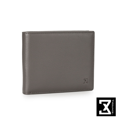 74盎司 Plain 系列平紋真皮短夾[N-465]灰色