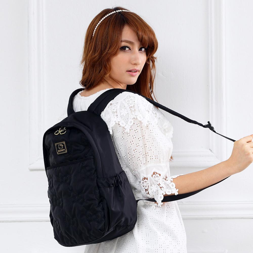 Hello Kitty 浪漫風尚後背包-黑 KT00Y02BK