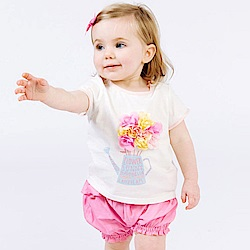 Dave Bella 白色花球短袖上衣+粉色燈籠短褲套裝2件組