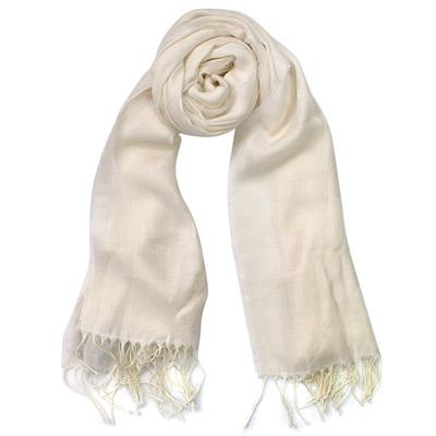 COACH米白羊毛蠶絲車線C Logo流蘇長圍巾(195x53)
