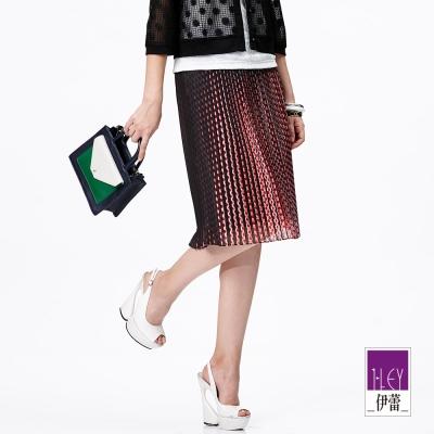 ILEY伊蕾-波點壓摺配條紋裙
