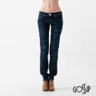 Gossip 低腰合身壓折窄管褲-深藍-女