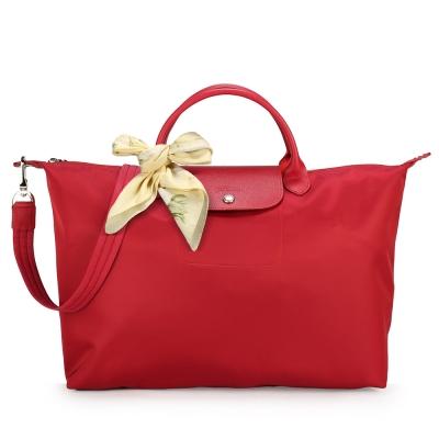 Longchamp Le Pliage Neo 短把大型水餃兩用包-寶石紅(加贈帕巾)