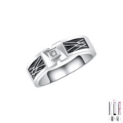 K'OR蔻兒 十分幸福鑽石/白鋼男戒指
