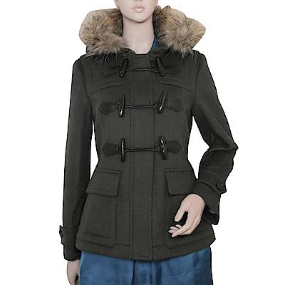BURBERRY 經典毛帽牛角扣羊毛大衣外套(卡其綠)