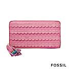 FOSSIL CAROLINE 拉鍊長夾-粉色
