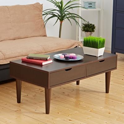 Bed Maker-雙眼皮 雙抽屜收納大茶几/實木桌腳/台灣製(三色)
