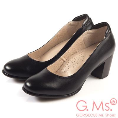 G.Ms. 小資X麻吉-MIT手工全真皮粗跟鞋-H款