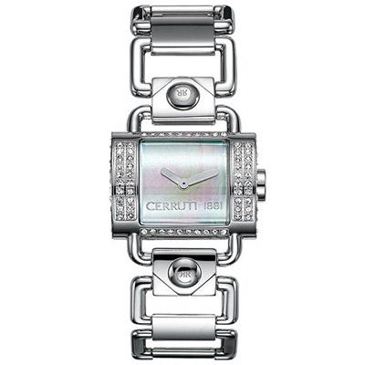 【CERRUTI 1881】半月彎華麗奢華時尚腕錶(白貝)