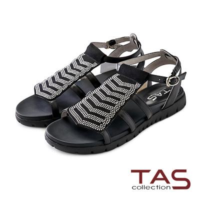 TAS 小水鑽排列寬版魚骨繫帶涼鞋-俐落黑