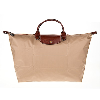 Longchamp 折疊大型短提把摺疊水餃包/旅行袋 (卡其/大)