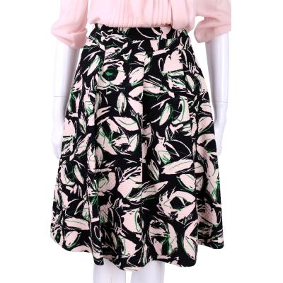 Max Mara-SPORTMAX 黑粉色浮雕印花抓褶及膝裙