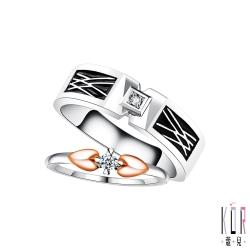 K'OR蔻兒 十分幸福鑽石/白鋼成對戒指