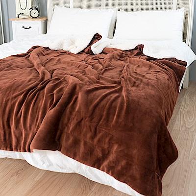 eyah宜雅 北歐時尚雙面加厚法蘭絨羊羔絨毯 2入組(咖啡)