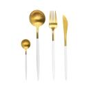 AURA艾樂 Fantasy鈦奢華不鏽鋼餐具四件組(金+白)