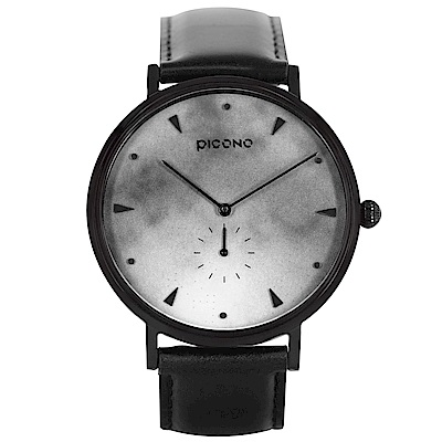 【PICONO】A week 系列 渲染簡約黑色真皮錶帶手錶 / AW-7607