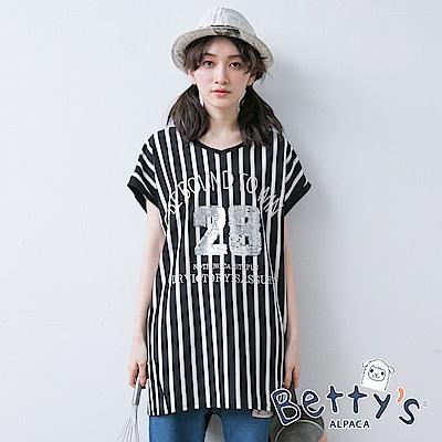 betty's貝蒂思 休閒直條紋短袖上衣(黑色)