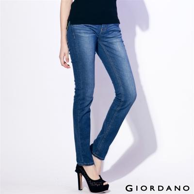 GIORDANO女裝中腰標準窄腳牛仔褲-63中藍