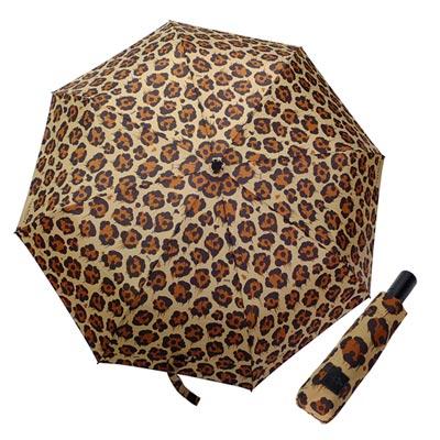 COACH黑棕潑墨豹紋圖騰自動開啟晴雨傘