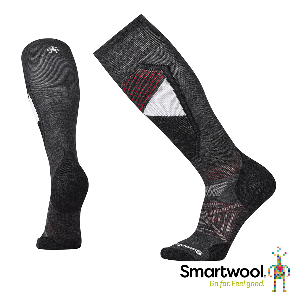 SmartWool PhD滑雪輕量避震印花高筒襪 炭黑
