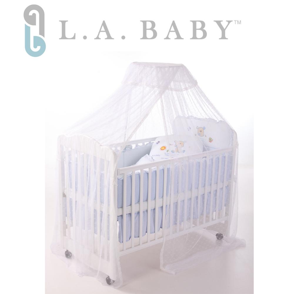 【美國 L.A. Baby】豪華全罩式嬰兒床蚊帳(加大加長型/高雅婚紗白色)