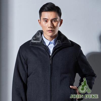 JOHN DUKE 紳士品味羊毛保暖短大衣_黑灰(60-2K7551)