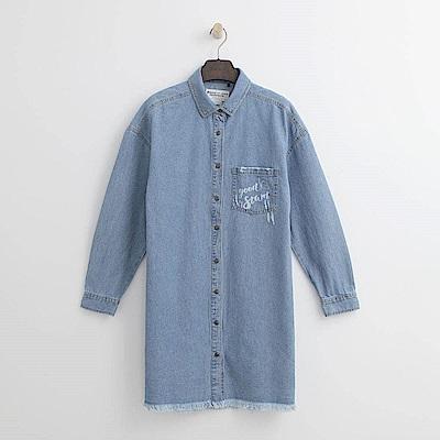 Hang Ten - 女裝 - 落肩長版丹寧襯衫-藍色