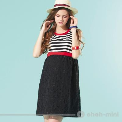 ohoh-mini孕婦裝條紋剪接浪漫蕾絲花紋無袖洋裝(二色可選)