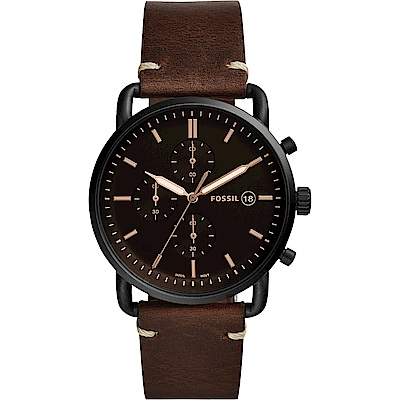 FOSSIL Commuter 潮男時尚計時手錶-黑x咖啡/42mm