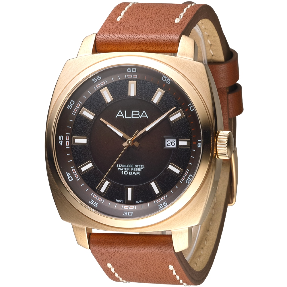 ALBA雅柏手錶 時代金典知性時尚男錶-琥珀色x金框(AS9850X1)/45mm 保固二年