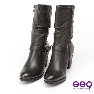 ee9 經典手工~率性風格手工抓皺金屬扣環百搭粗跟中筒靴-黑色