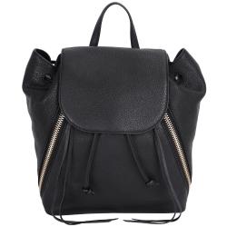 Rebecca Minkoff BRYN 牛皮拉鍊設計束口後背包(黑色)
