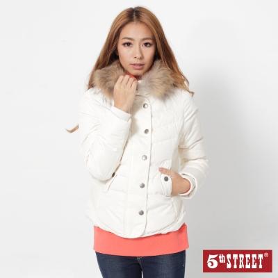 5th STREET 羊毛拼接合身羽絨外套-女-米白色
