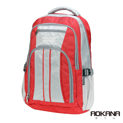 AOKANA奧卡納 輕量防潑水護脊電腦後背包(摩登紅)68-089