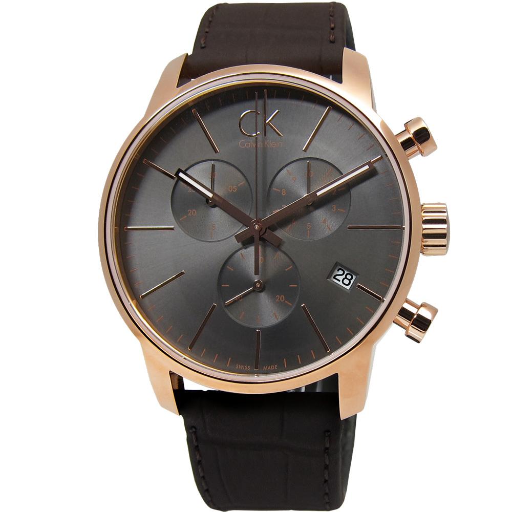 cK City 城市時尚三環計時皮革腕錶-灰黑色x玫瑰金/43mm