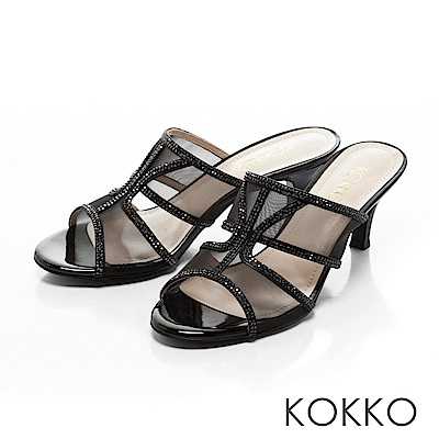 KOKKO - 性感透膚網紗璀璨魚口跟鞋-經典黑