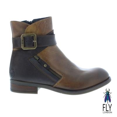 Fly London(女) 仿舊個性復古低跟中筒靴-棕色 @ Y!購物