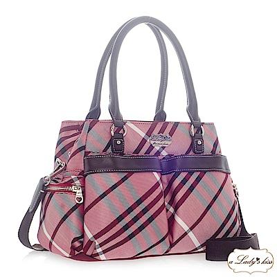 a Lady 's真皮 輕盈氣質滾邊雙袋多隔層三用包(紫紅) @ Y!購物