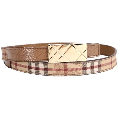 BURBERRY Haymarket 方形格紋釦環窄版腰帶(棕色)