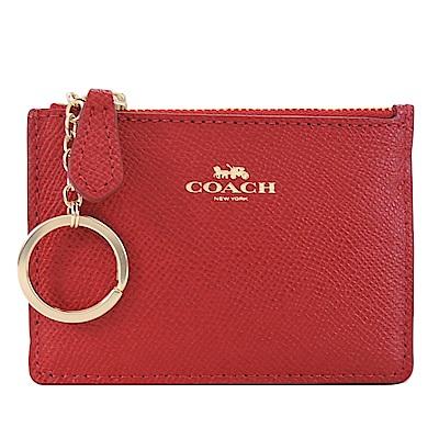 COACH 燙金馬車素色防刮皮革鑰匙零錢包(紅)