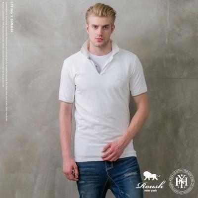 ROUSH 門襟織帶設計合身版網眼POLO衫 (2色)