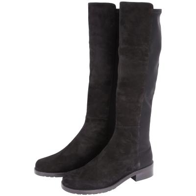 Stuart Weitzman HALF N HALF 黑色麂皮拼接低跟及膝長靴