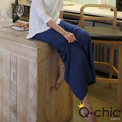 側開衩素面輕柔棉長裙 (共三色)-Q-chic