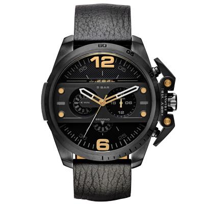 DIESEL 鋼鐵之臂潮流個性腕錶-皮帶黑/48mm