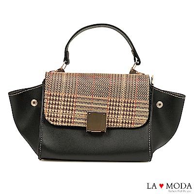 La Moda 設計師Look千鳥紋手提肩背斜背小包水餃包(黑)